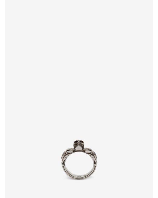 Alexander McQueen - Metallic Strukturierter Skull-Ring for Men - Lyst