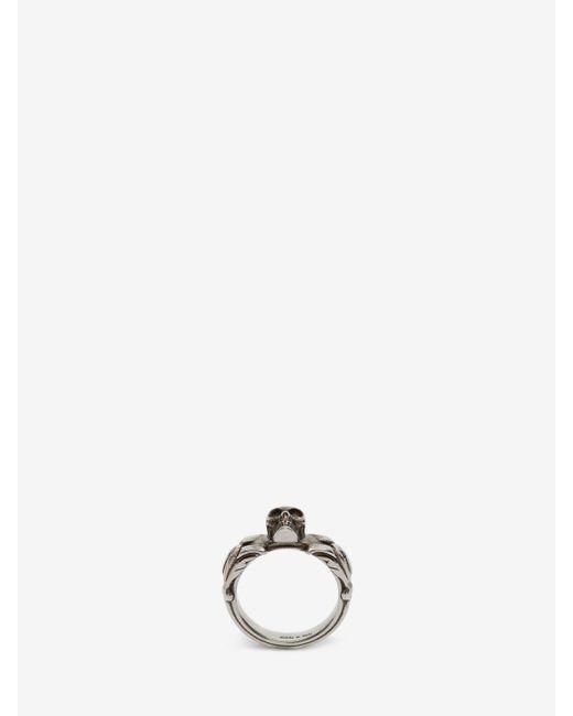 Alexander McQueen - Metallic Textured Skull Ring for Men - Lyst