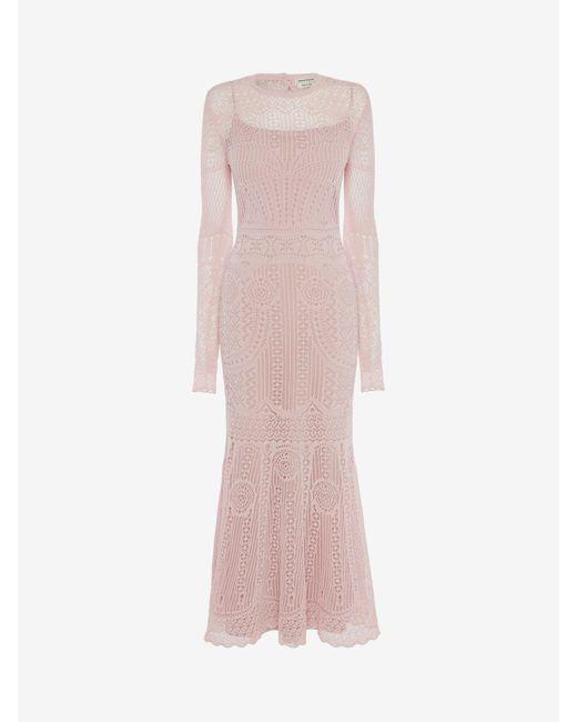 Alexander McQueen パッチワークレースニット ドレス Pink