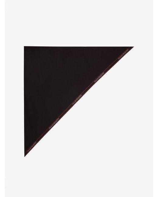 Foulard Triangolare con Cimosa di Alexander McQueen in Black da Uomo