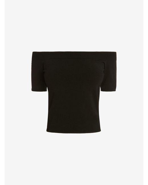 Alexander McQueen Off-the-shoulder Knit Top Black
