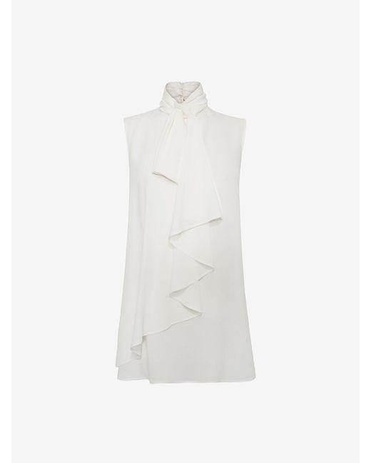 Alexander McQueen Ruffled Bow Top White