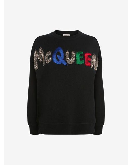 Alexander McQueen エンブロイダリー Mcqueen スウェットシャツ Black