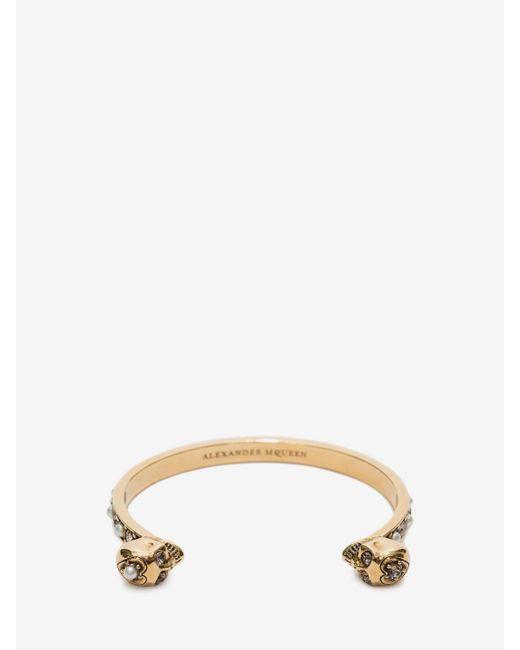 Alexander McQueen | Metallic Thin Twin Skull Bracelet | Lyst