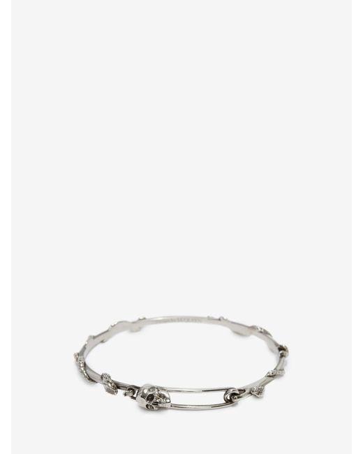 メンズ Alexander McQueen Skull Safety Pin Bracelet Metallic