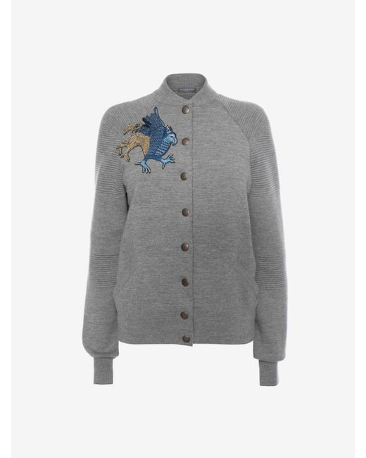 Alexander McQueen | Gray Embroidered Knit Jacket | Lyst