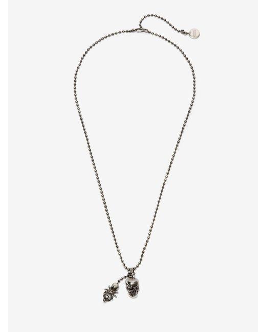 Alexander McQueen Halskette mit Spinne und Skull in Metallic für Herren