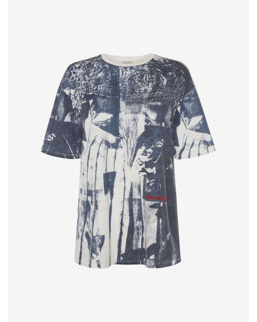 Alexander McQueen オーバープリント ドレスtシャツ Blue