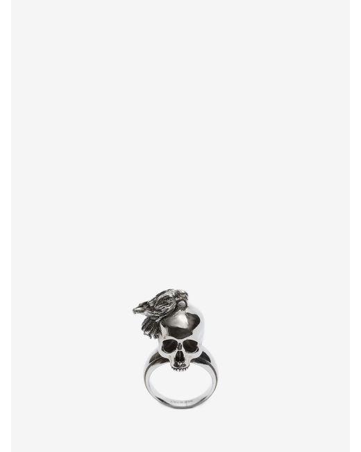 Alexander McQueen - Metallic Raven And Skull Ring for Men - Lyst