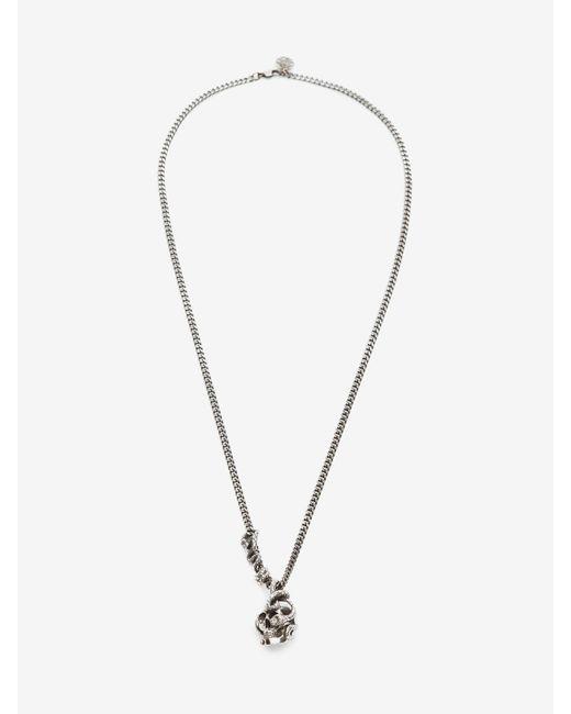 メンズ Alexander McQueen Skull And Snake Necklace Metallic