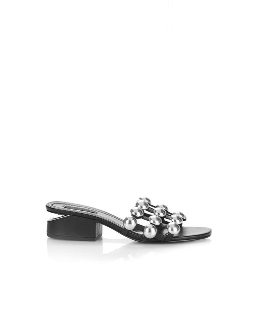 Alexander Wang - Black Dome Stud Lou With Rhodium - Lyst