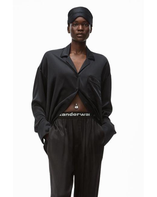 Alexander Wang Black Embroidered Pajama Shirt