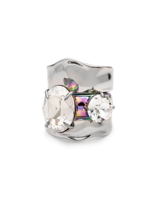 Alexis Bittar - Multicolor Liquid Rhodium With Pvd Crystal Stacked Ring Set - Lyst
