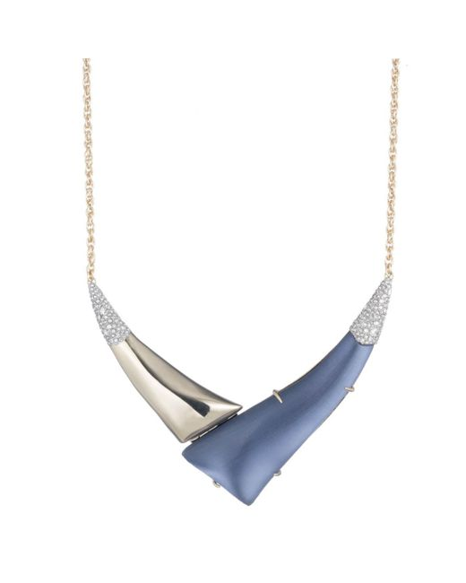 "Alexis Bittar - Metallic Liquid Gold With Crystal Accent ""v"" Shaped Pendant Necklace You Might Also Like - Lyst"