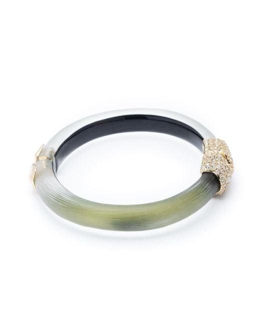 Alexis Bittar Blue Crystal Encrusted Clasp Skinny Hinge Bracelet