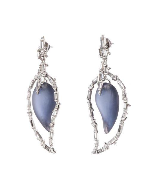 Alexis Bittar Blue Crystal Baguette Cluster Dangling Paisley Post Earring