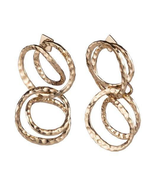 Alexis Bittar Metallic Hammered Coil Link Dangling Post Earring