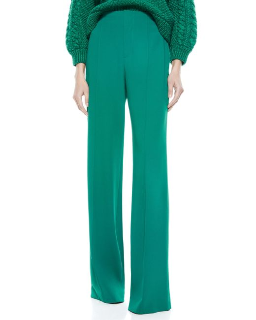 Alice + Olivia Green Dylan High Waisted Pant