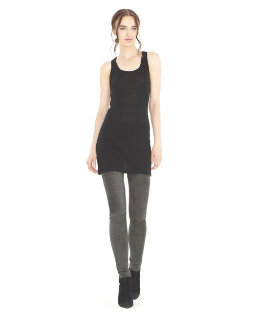 Alice + Olivia | Gray Charcoal Front Zip Suede Legging | Lyst