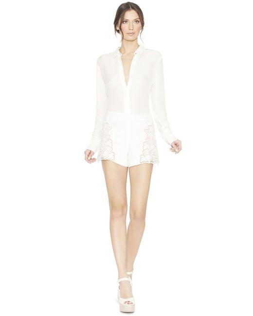 Alice + Olivia | White Marisa Embroidered Back Zip Shorts | Lyst