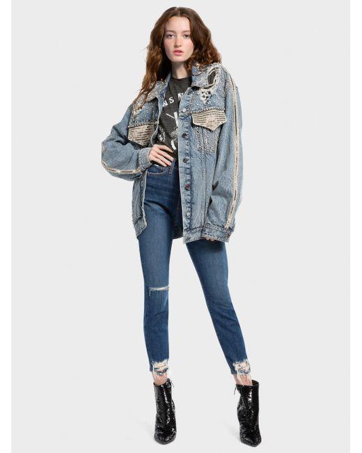 Alice + Olivia - Blue Oversized Crystal Denim Jacket - Lyst