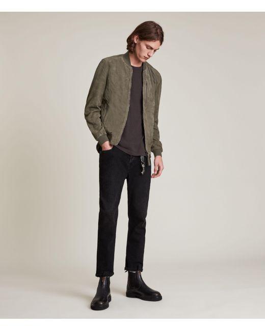 AllSaints Green Men's Kemble Suede Bomber Jacket for men