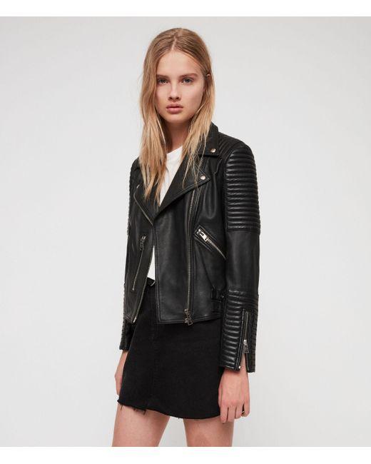 AllSaints Black Estella Leather Biker Jacket