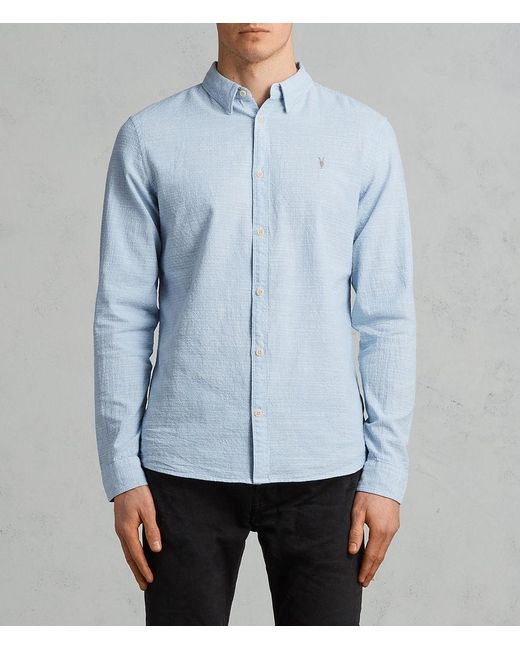 AllSaints - Blue Dulwich Regular Fit Button-down Shirt for Men - Lyst