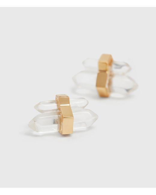 AllSaints Metallic Faye Gold Tone Semi-precious Crystal Quartz Earrings