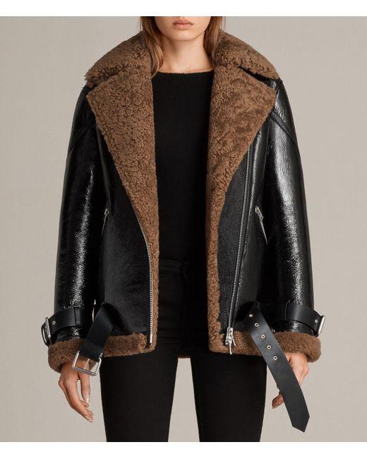 AllSaints | Black Hawley Oversized Shearling Biker Jacket | Lyst