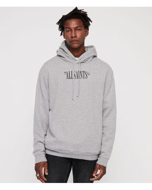 AllSaints - Gray Brackets Pullover Hoodie for Men - Lyst