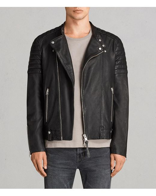 AllSaints - Black Jasper Leather Biker Jacket for Men - Lyst