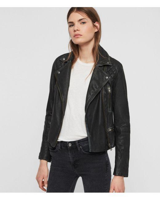 AllSaints Black Cargo Leather Biker Jacket