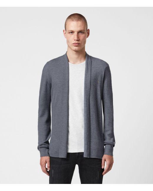 AllSaints Blue Mode Merino Open Cardigan for men