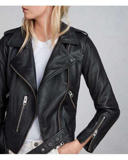 AllSaints - Black Balfern Leather Biker Jacket - Lyst