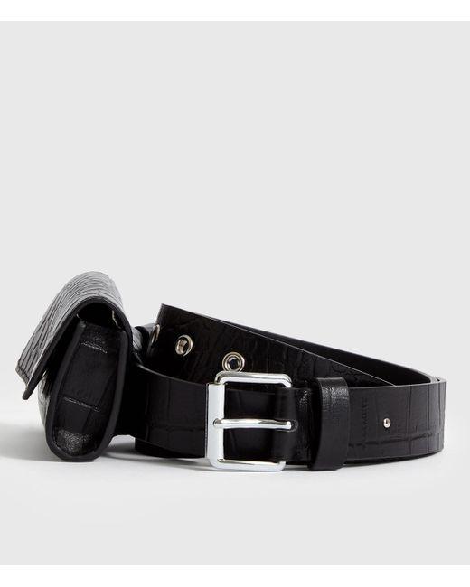 AllSaints Black Agnes Leather Belt