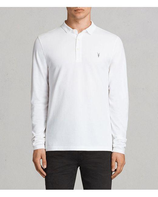 AllSaints | White Reform Long Sleeved Polo Shirt for Men | Lyst
