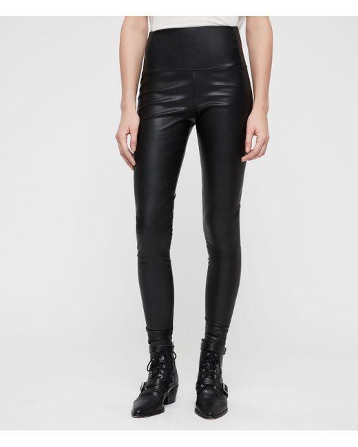 AllSaints Ladies Black Cora Leggings, Size: 14