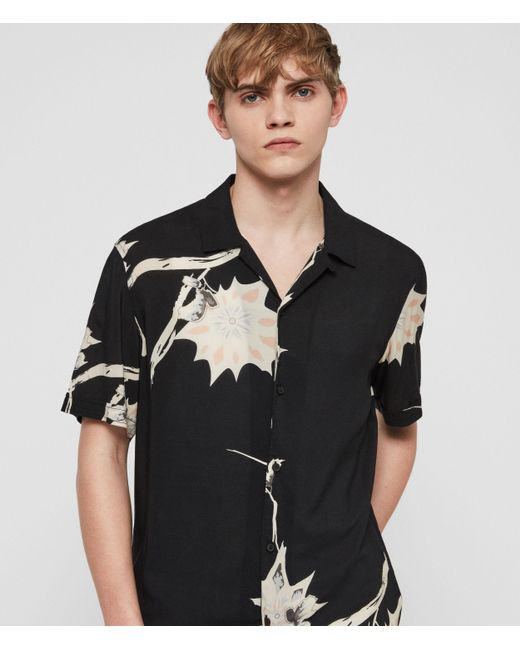 AllSaints Black Mokapu Hawaiian Shirt for men