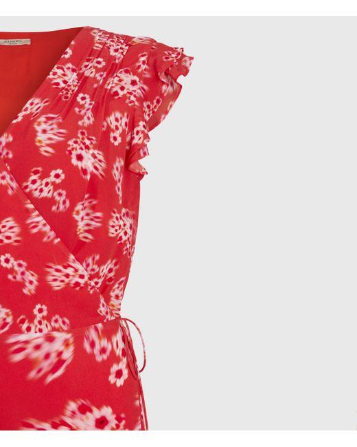 AllSaints Women's Floral Lightweight Dela Jasmine Dress Red Size: 10