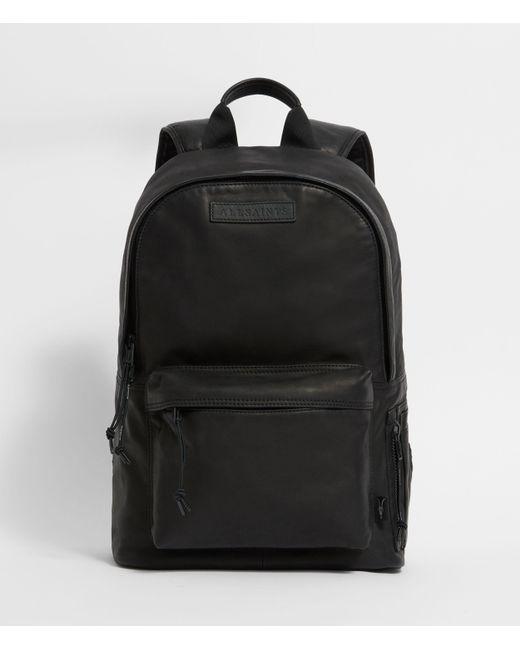 AllSaints Black Hayes Leather Rucksack for men
