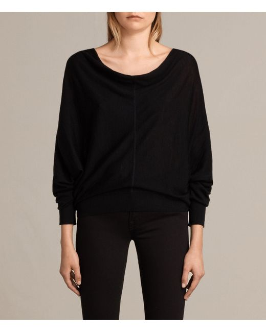 Allsaints Elgar Merino Cowl Neck Sweater in Black   Lyst