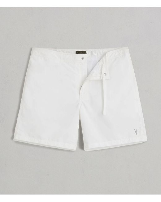 AllSaints - White Warden Swim Shorts for Men - Lyst