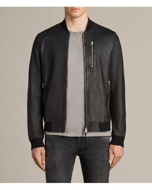 AllSaints Black Kino Leather Bomber Jacket for men