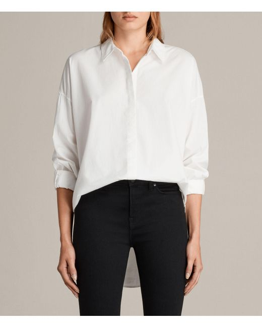 AllSaints | White Sada Shirt | Lyst