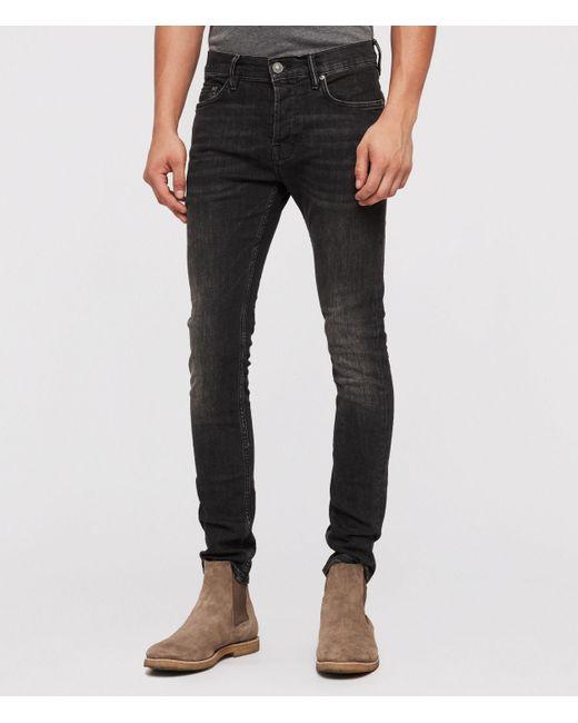 AllSaints Mens Black Cotton Comfortable Cigarette Skinny Jeans, Size: 31 for men