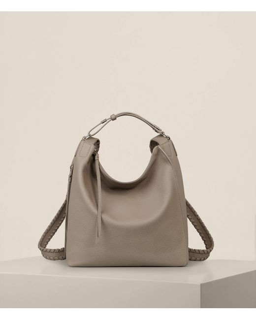 AllSaints Gray Kita Leather Small Backpack