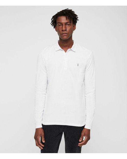 AllSaints - White Brace Polo Shirt for Men - Lyst