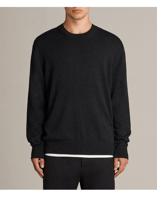 AllSaints - Black Blake Crew Sweater for Men - Lyst