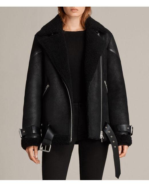 AllSaints   Black Hawley Oversized Shearling Jacket   Lyst